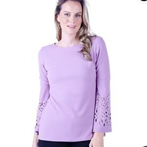 GUILLAUME | scalloped sleeve top in violet